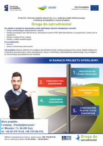 Plakat Droga do zatrudnienia - Biuro Projektu